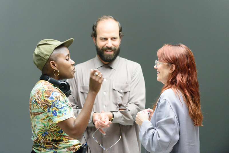 Director Janicza Bravo, Brett Gelman and Megan Mullally on the set of LEMON, a Magnolia Pictures release. Photo courtesy of Magnolia Pictures.