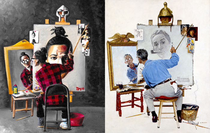 Theo Mighty, Triple-Mighty + Norman Rockwell, Triple Self-portrait montage