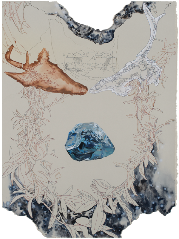 Then-and-Then, gouache, ink and evaporated glacial water on collaged paper